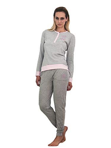 pigiama con lungo a cotone maglia donna guru pantalone Grigio in polsini righe serafino in Art 3758G dCwHqxn54