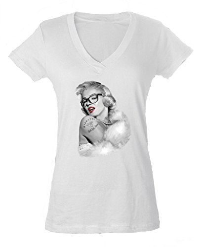 Marilyn Monroe Blonde Star Ladies V-Neck T-shirt Swag Nerd Style Shirts 2XL White - Halloween A Being Nerd For