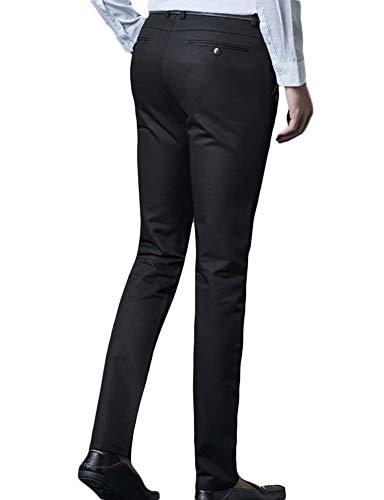 Classic Pantalones Cómodo Formales Clásico Slim Chinos Business Traje Battercake Schwarz Fit Informales De Aq8dHxznv