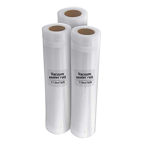 3 Roll Pack Food Vacuum Sealer Roll Bag 11.8inch x 16ft for Food Saver and Sous Vide