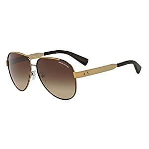 Armani Exchange Womens Sunglasses (AX2018) Gold Matte/Brown Metal - Non-Polarized - 59mm