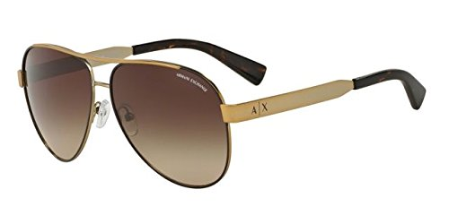 Armani Exchange Womens Sunglasses (AX2018) Gold Matte/Brown Metal - Non-Polarized - - Armani Aviator Sunglasses
