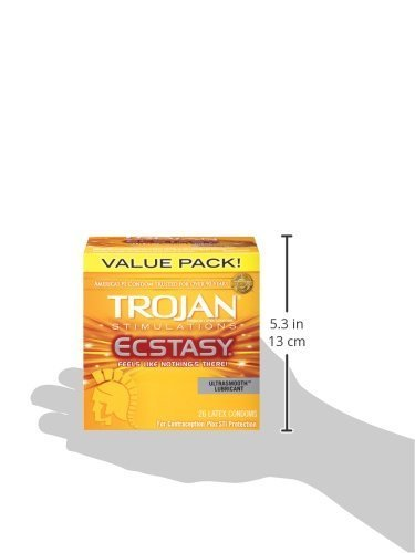 Trojan Ultra Ribbed Ecstasy Lubricated Condoms, 26 Count