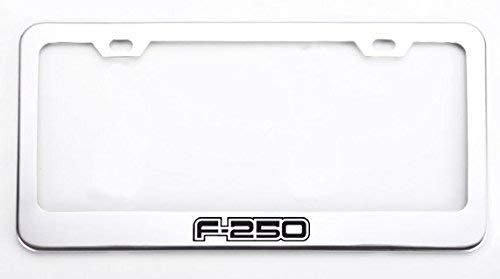 Deselen Stainless Steel License Plate Frame for Ford 250 with Screw Caps Cover Set, Silvery White/Chrome (2 Pieces Front/Back) LP-LP02WF