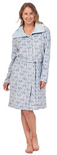 Patricia Women's Soft Minky Polar Fleece Robe (Blue Elephant Print, Small)