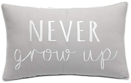 Trivenee Tex Never Grow Up Funny Embroidered Decorative Lumbar Accent Throw Pillow Cover – L.Grey, 12″X20″