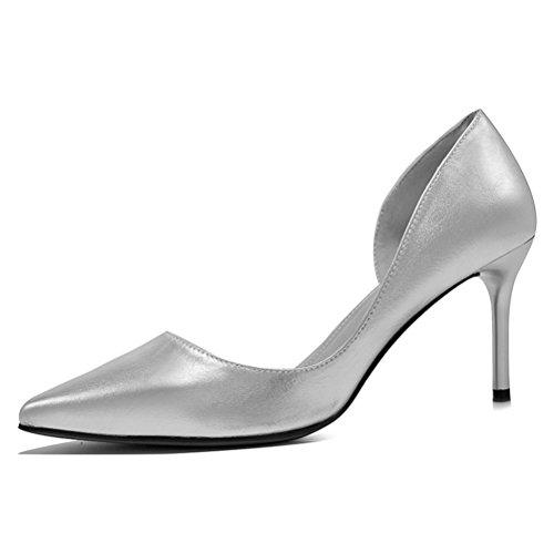 Lackleder Spitze Damen Semi Palme Metallfarbe Stilettos Neue Modische Pumps Silber Größe 38 EU