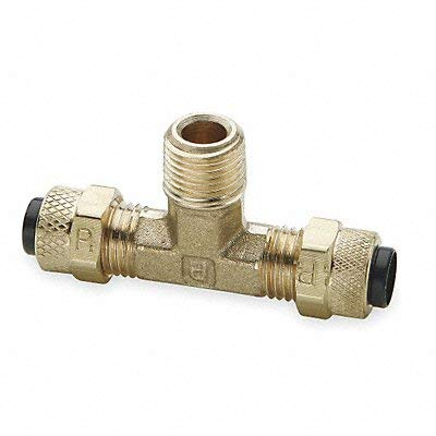 (Parker 172P-8-6 Compression Fitting for Thermoplastic and Soft Metal Tubing, Poly-Tite, Tube to Pipe, Brass, Compression and Male Pipe Branch Tee, 1/2