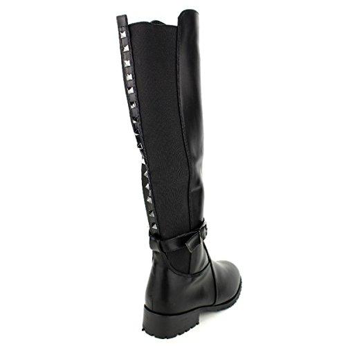 Stephan Chaussures Femme Noir Cavalière Avec Cendriyon Black Clous Botte wcRqxO4z