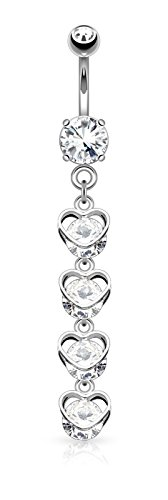 Forbidden Body Jewelry Surgical Steel CZ Cascade of Hearts Dangle Belly Button Ring