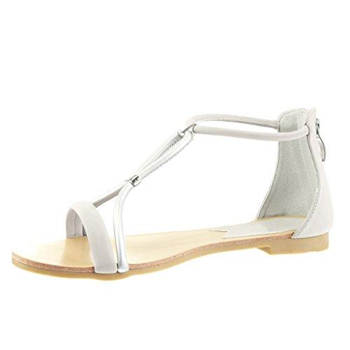 Angkorly - Chaussure Mode Sandale salomés femme lanière Talon bloc 1 CM - Argent