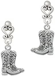 Cowboy Boots - Filigree Heart Earrings