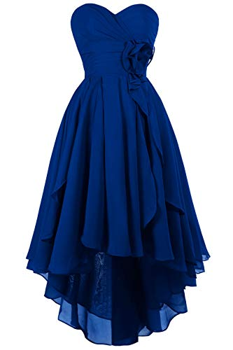 MsJune High Low Bridesmaid Dress Chiffon Ruffles Party Prom Homecoming Dresses Royal Blue 4