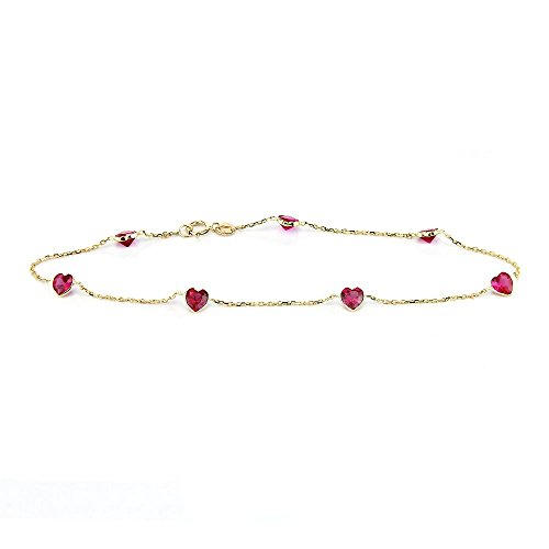 14k Yellow Gold Anklet With 5 MM Ruby Red Heart Shaped Cubic Zirconia 9-11 inches ()
