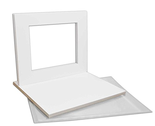 Golden State Art, Pack of 10 White Pre-Cut 16x20 Picture Mat for 11x14 Photo with White Core Bevel Cut Mattes Sets. Includes 10 High Premier Acid Free Mats & 10 Backing Board & 10 Clear Bags Double Pre Cut Mat