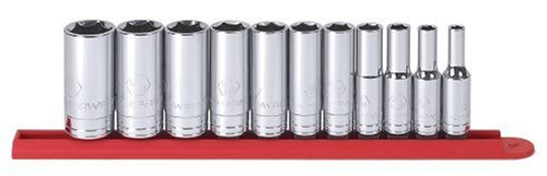 GearWrench 80555 11 Piece 3/8-Inch Drive 6 Point Deep SAE Socket Set ()