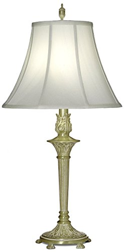 (Stiffel TL-A824-SBW One Light Table Lamp, Satin Brass/White Antique Finish with Off White Silk Shade)