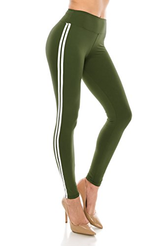ALWAYS Women Solid Basic Soft Stretch Striped Leggings Olive White Regular