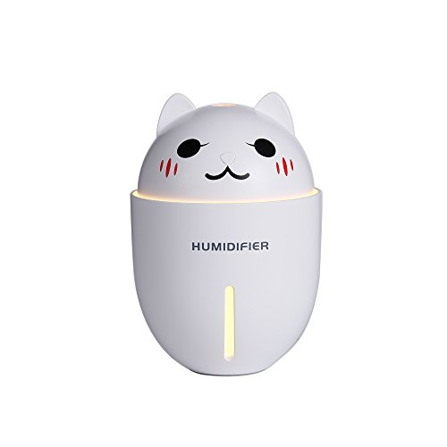 easy&cozy Car Humidifier Cute Essential Oil Diffuser, USB Portable Multifunction Air Purifier with Electric Fan and Table Lamp, 320ML 10 working hour Mini Air Purifier for Car/Home(white) by easy&cozy
