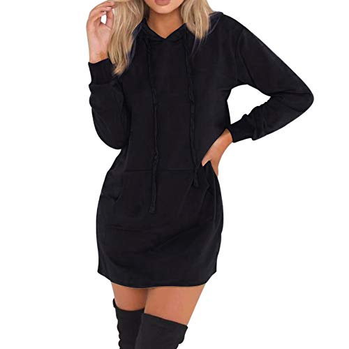Youngh New Womens Sweatshirt Plus Size Solid Loose Long Sleeve Hoodies Casual Hooded Pullover Jumper Tops With Pockets by Youngh Top