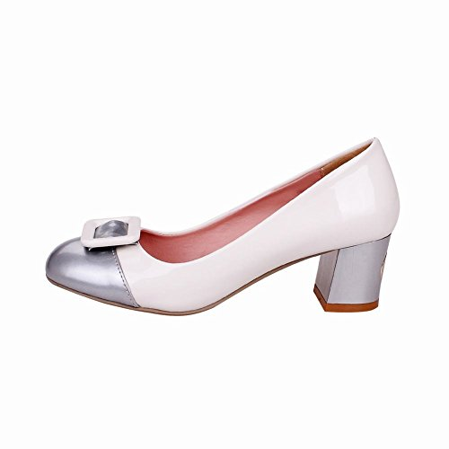 Latasa Womens Fashion Two-toned Mid Chunky Heel Dress Pumps Shoes White LO1Zsaf