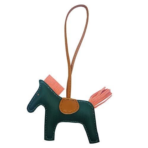 Bag Charm for Women Purse Charm Horse Leather Keychain Handbag Accessories (Greenpink)