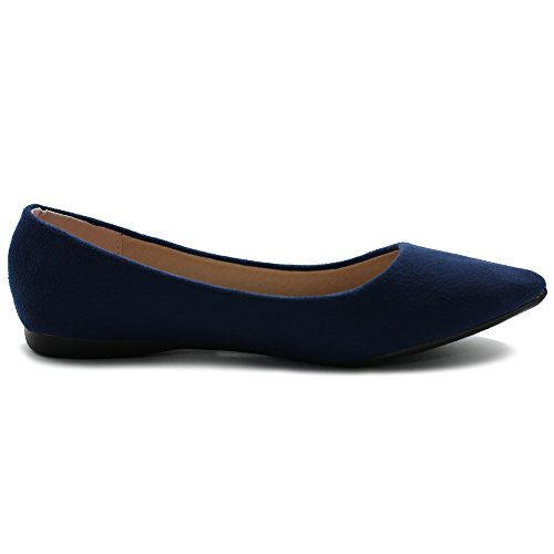 Ollio Donna Balletto Comfort Luce Faux Suede Scarpa Multi Colore Flat Navy