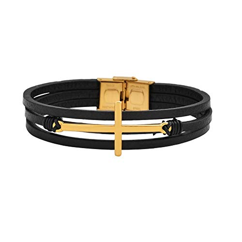 Magna Steel Men's Multi-Strand Genuine Leather Bracelet with Stainless Steel Classic Cross Pendant, Gold (Genuine Multi Strand)