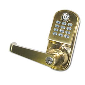 HIC Harold Import Co. 8061ORG-HIC Brass Time pilot 2906 Crossover X25 I button Keypad Door Lock Home Decor Products (Classroom Brass Lock)