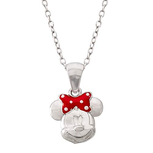 Disney Minnie Mouse Sterling Silver Pendant Necklace with Red Polka Dot Bow, Mickey's 90th Birthday Anniversary; Jewelry for Women