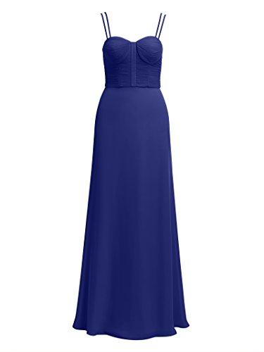 Formal Alicepub Evening Straps Sapphire Prom Maxi Pleated Dress Women's Chiffon Gown Semi qqtwZ7H