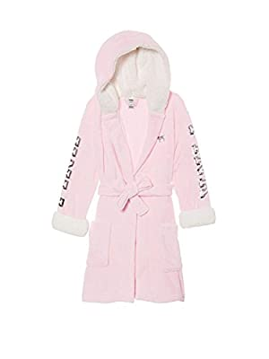Victoria's Secret Pink Hooded Sherpa Lined Cozy Soft Plush Bling Robe