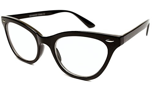 AStyles - Vintage Inspired Gradient Half Tinted Frame Clear Lens Cat Eye Glasses (Black, Clear) -