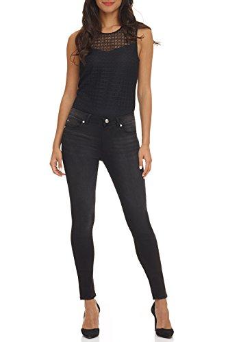 Rekucci Women's Ease in to Comfort Super Soft 5 Pocket Denim Skinny Leg (8,Black Sand)