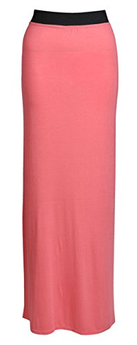 Flirty Wardrobe Maxi robe longue en Jersey style bohmien pour femme Motif Desire Clothing Jupe Vert - Corail