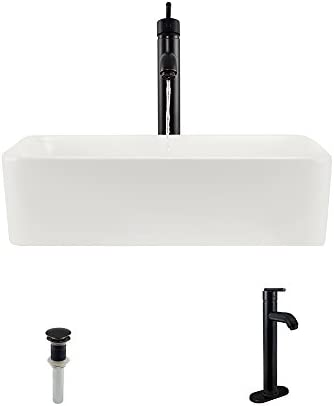 V140-Bisque Porcelain Vessel Sink Antique Bronze Ensemble with 718 Vessel Faucet Bundle – 3 Items Sink, Faucet, and Pop Up Drain