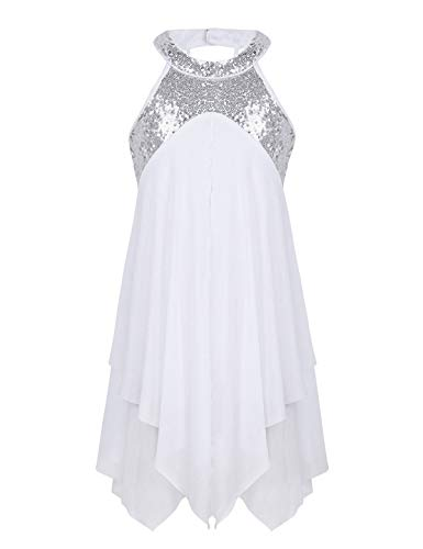 (FEESHOW Girls Sequined Irregular Ballet Lyrical Dance Chiffon Dress Ballerina Dancing Costumes Gymnastics Leotard Halter White)