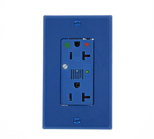 Leviton 8380-IGB 20 Amp, 125 Volt, Decora Plus Duplex Receptacle, Straight Blade, Hospital Grade, Isolated Ground, Surge with Indicator Light, Blue ()