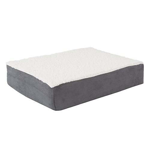 Orthopedic Sherpa Top Pet Bed with Memory Foam and Removable Cover 20x15x4 Gray by PETMAKER