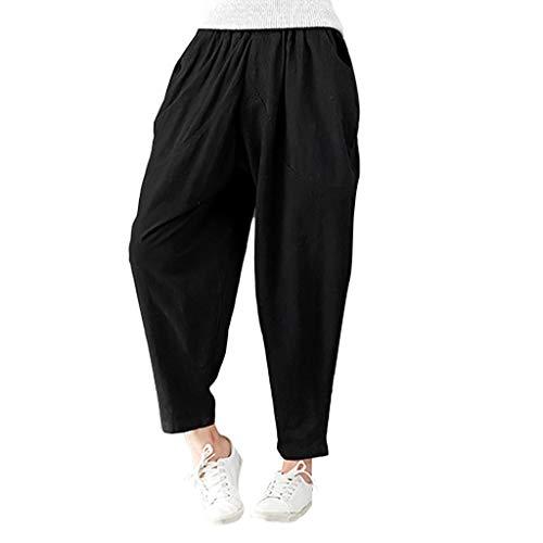 - Women Fashion Warm Cotton Linen Pockets Harem Pants Elastic Loose Trousers