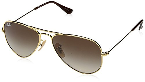 Ray-Ban Junior RJ9506S Aviator Kids Sunglasses, Gold/Brown Gradient, 52 mm