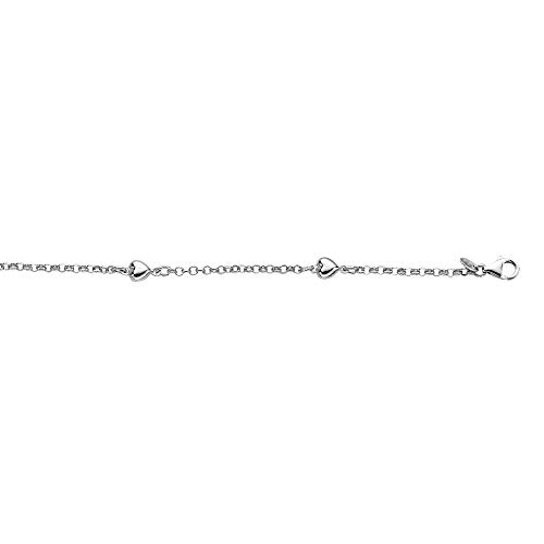 Sterling Silver Rhodium Plated Rolo Chain Puffed Heart Station Anklet, 10 Inches