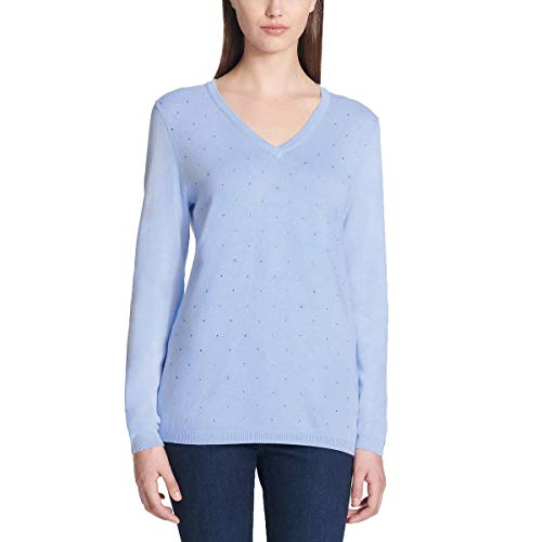 (DKNY Jeans Women Rhinestone Embellished V-Neck Cotton Sweater 1241957 Blue M)