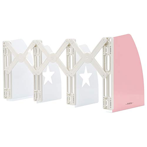 (Bookends PINREK Book Stand Retractable Book Holder Metal Iron Adjustable Nonslip DIY Design Bookshelf for Students Bedroom Library Office School Supplies Stationery Gift(Pink))