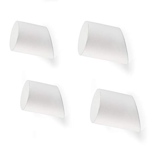 Wooden Wall Hooks, Weathered White - 4 Pack of Modern Wall Mounted Coat Hook Wood Pegs (White Modern Hook)