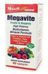Mason Natural COMPARE TO ALIVE MASON Megavite Fruits and Veggies 60 Caplets (Veggie Caplets)