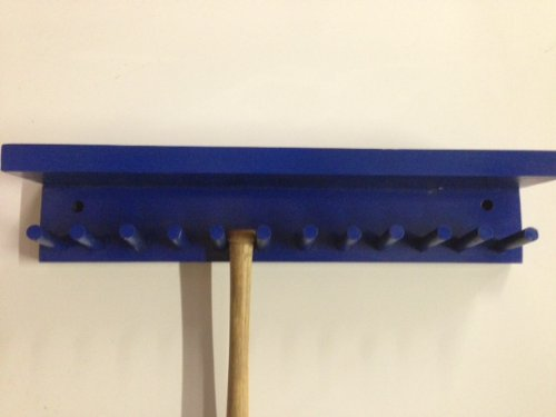 Baseball Bat Rack Display with Shelf Meant to Hold up to 11 Mini Collectible Bats Blue by MWC