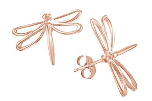 14K Rose Gold Over Sterling Silver Fashion Dragonfly Stud Earrings ()