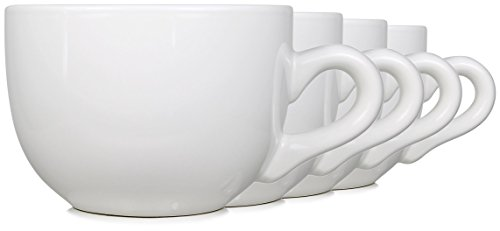 22oz Ceramic Jumbo Bowl Mugs with Thick Walls, Handle, and Wide Mouth, Set of 4 by Serami