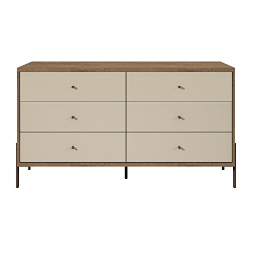 Manhattan Comfort 350594 Joy Series 2 Tone 6 Drawer Bedroom Dresser, Off-White ()